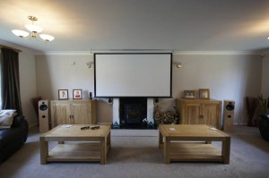Lounge home cinema with projector _Cinematic lounge gold