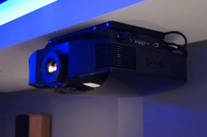 Sony VPL-HW55 on extra low profile ceiling bracket