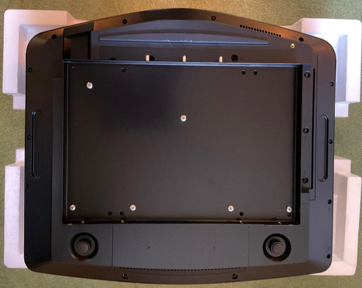 The underside of a Sony VPL-VW790 with ultra low profile ceiling mount fitted.